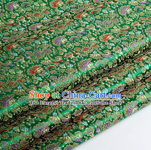 Chinese Traditional Green Brocade Fabric Tang Suit Classical Cockscomb Flower Pattern Design Tang Suit Silk Material Satin Drapery