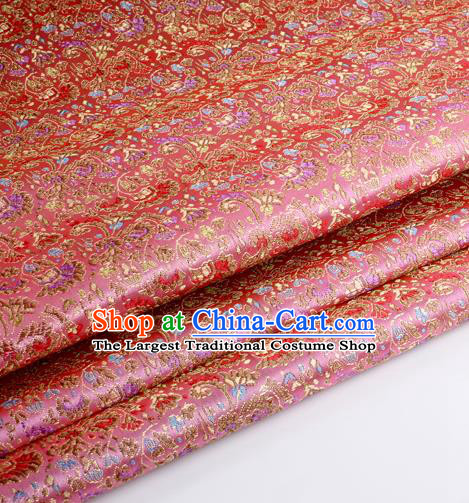 Chinese Traditional Pink Brocade Fabric Tang Suit Classical Cockscomb Flower Pattern Design Tang Suit Silk Material Satin Drapery