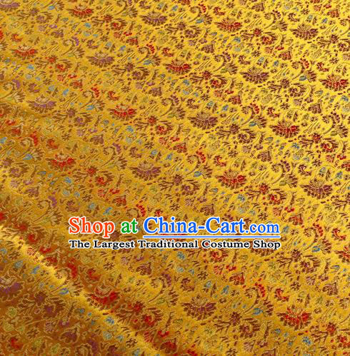 Chinese Traditional Golden Brocade Fabric Tang Suit Classical Cockscomb Flower Pattern Design Tang Suit Silk Material Satin Drapery