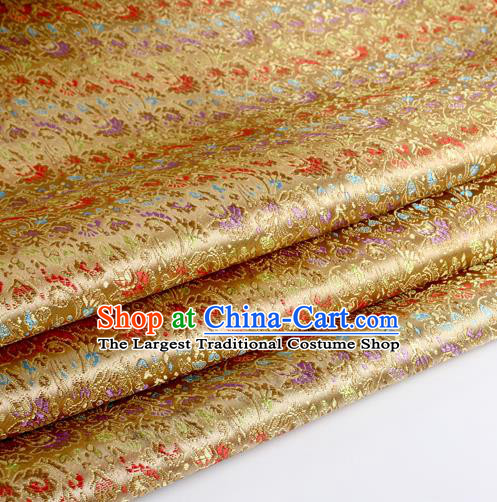 Chinese Traditional Light Golden Brocade Fabric Tang Suit Classical Cockscomb Flower Pattern Design Tang Suit Silk Material Satin Drapery