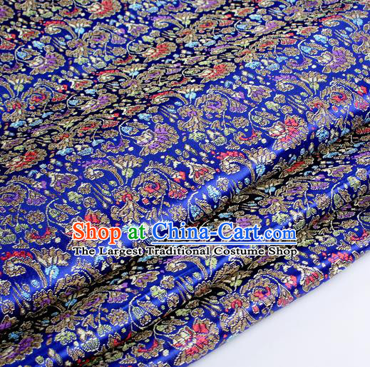 Chinese Traditional Royalblue Brocade Fabric Tang Suit Classical Cockscomb Flower Pattern Design Tang Suit Silk Material Satin Drapery