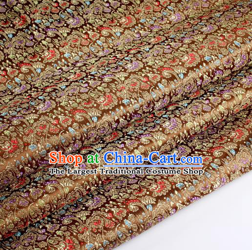 Chinese Traditional Brown Brocade Fabric Tang Suit Classical Cockscomb Flower Pattern Design Tang Suit Silk Material Satin Drapery