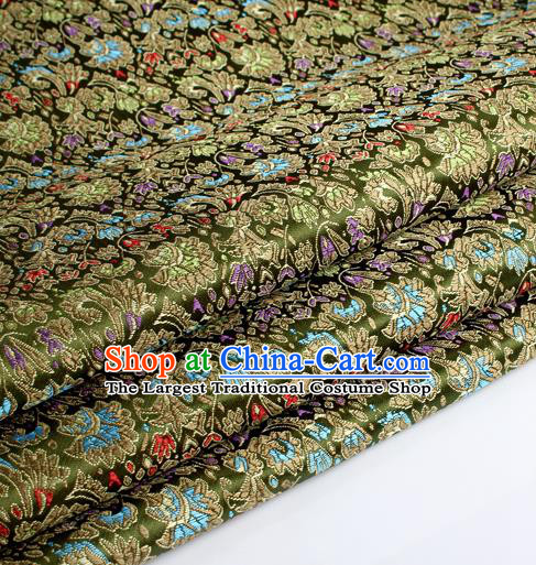 Chinese Traditional Olive Green Brocade Fabric Tang Suit Classical Cockscomb Flower Pattern Design Tang Suit Silk Material Satin Drapery
