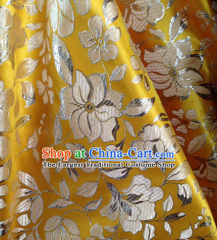 Chinese Traditional Yellow Brocade Fabric Tang Suit Classical Peony Pattern Design Tang Suit Silk Material Satin Drapery
