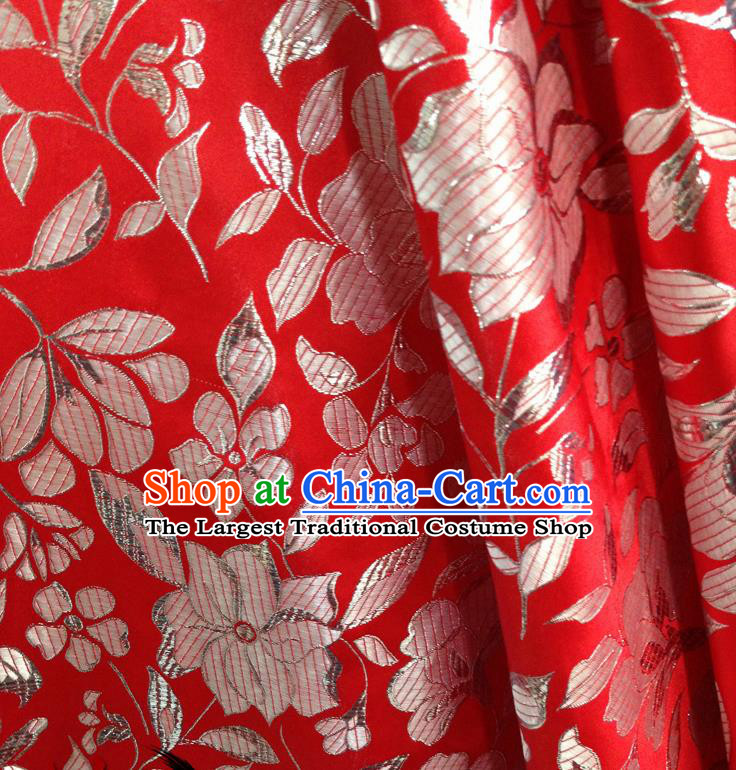 Chinese Traditional Red Brocade Fabric Tang Suit Classical Peony Pattern Design Tang Suit Silk Material Satin Drapery