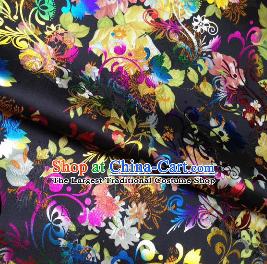 Chinese Traditional Black Brocade Fabric Tang Suit Classical Peony Pattern Design Tang Suit Silk Material Satin Drapery