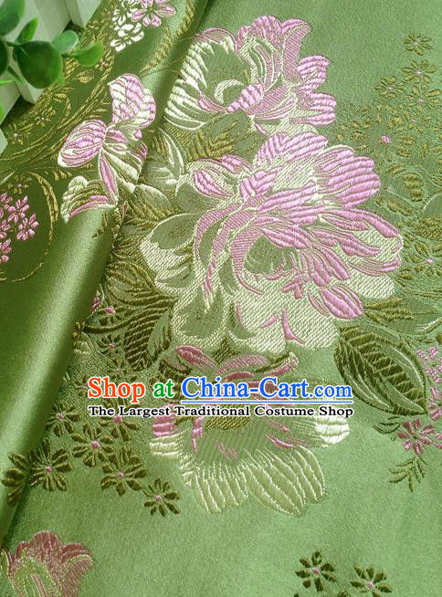 Chinese Traditional Green Brocade Fabric Tang Suit Classical Peony Pattern Design Tang Suit Silk Material Satin Drapery