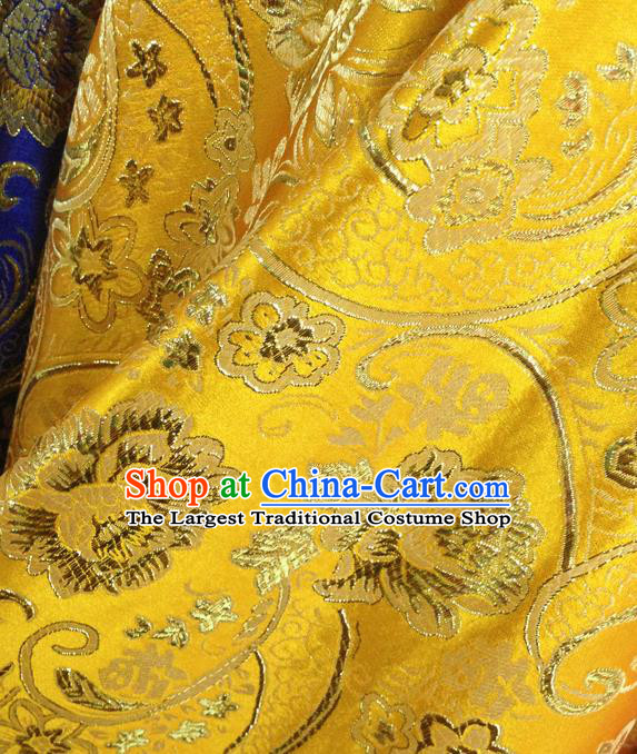Chinese Traditional Yellow Brocade Fabric Tang Suit Classical Peony Flowers Pattern Design Silk Material Satin Drapery