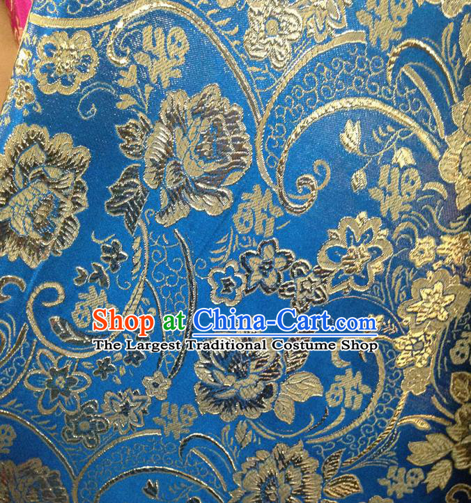Chinese Traditional Blue Brocade Fabric Tang Suit Classical Peony Flowers Pattern Design Silk Material Satin Drapery