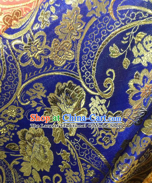 Chinese Traditional Royalblue Brocade Fabric Tang Suit Classical Peony Flowers Pattern Design Silk Material Satin Drapery