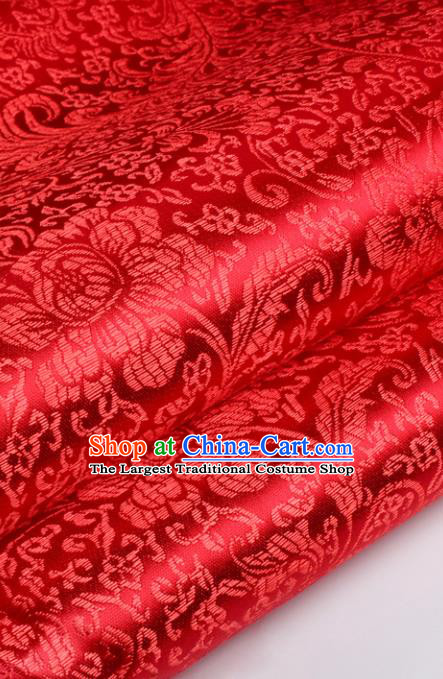 Chinese Traditional Red Brocade Fabric Tang Suit Classical Peony Flowers Pattern Design Silk Material Satin Drapery