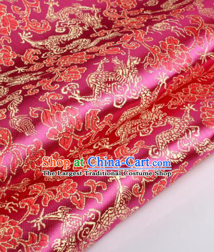 Chinese Traditional Rosy Brocade Fabric Tang Suit Classical Dragons Pattern Design Silk Material Satin Drapery
