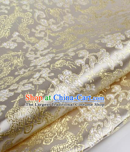 Chinese Traditional White Brocade Fabric Tang Suit Classical Dragons Pattern Design Silk Material Satin Drapery