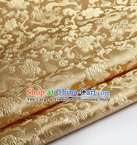 Chinese Traditional Golden Brocade Fabric Tang Suit Classical Dragons Pattern Design Silk Material Satin Drapery