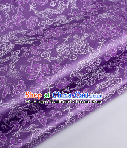 Chinese Traditional Purple Brocade Fabric Tang Suit Classical Dragons Pattern Design Silk Material Satin Drapery