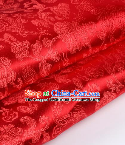 Chinese Traditional Red Brocade Fabric Tang Suit Classical Dragons Pattern Design Silk Material Satin Drapery