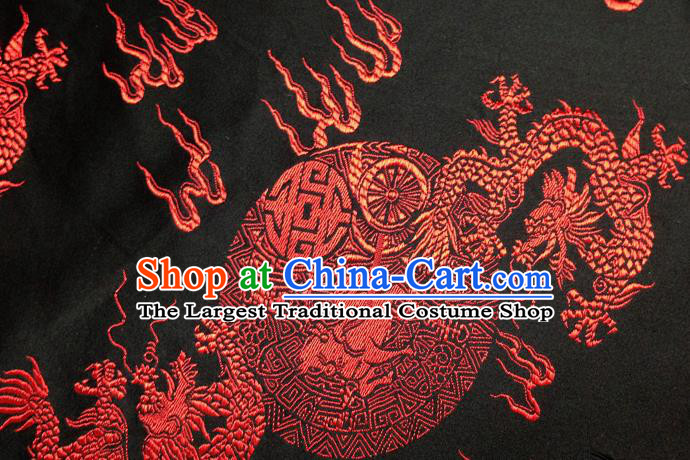 Chinese Traditional Black Brocade Fabric Tang Suit Classical Dragons Pattern Design Silk Material Satin Drapery
