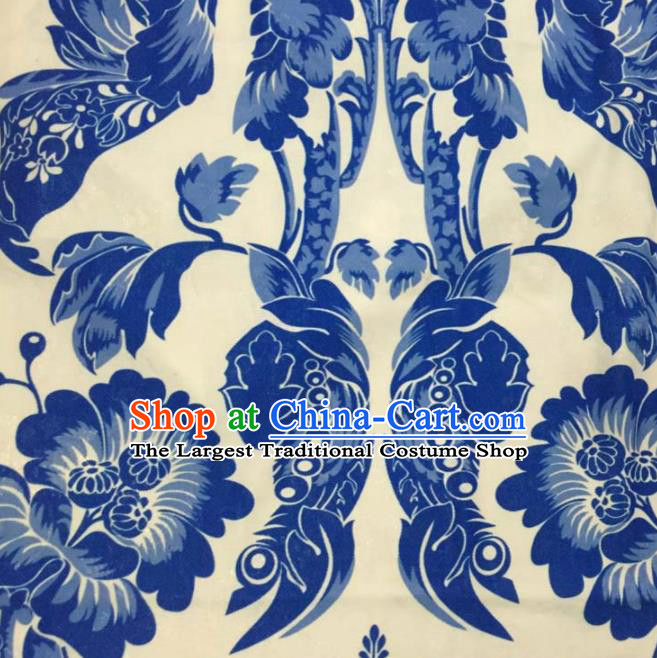 Chinese Traditional Brocade Fabric Qipao Classical Blue and White Porcelain Pattern Design Silk Material Satin Drapery