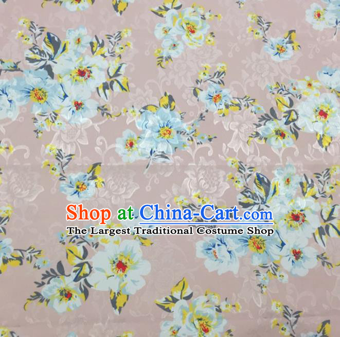 Chinese Traditional Apparel Fabric Pink Brocade Classical Pattern Design Silk Material Satin Drapery