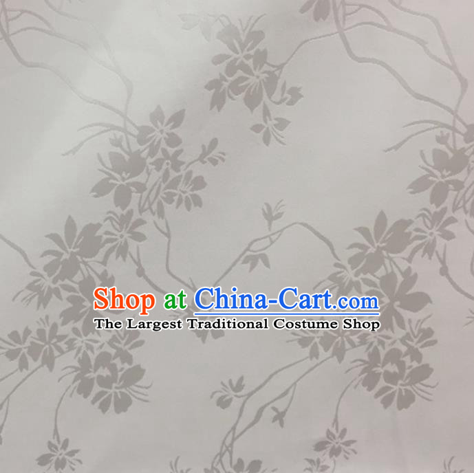 Chinese Traditional Apparel Fabric White Brocade Classical Flowers Pattern Design Silk Material Satin Drapery