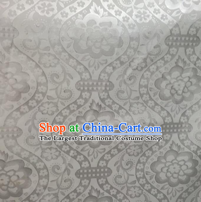 Chinese Traditional Apparel Fabric White Brocade Classical Flowers Vase Pattern Design Silk Material Satin Drapery