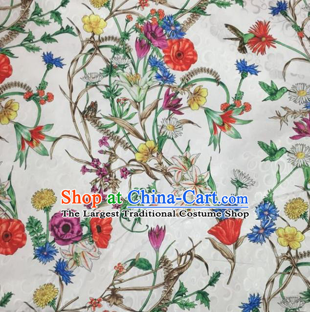 Chinese Traditional Apparel Fabric Printing Brocade Classical Pattern Design Silk Material Satin Drapery