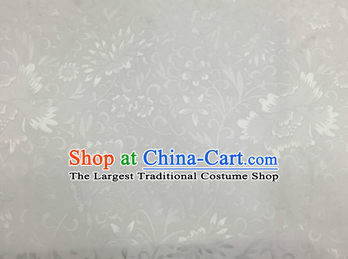 Chinese Traditional Apparel Fabric White Brocade Classical Lotus Pattern Design Silk Material Satin Drapery
