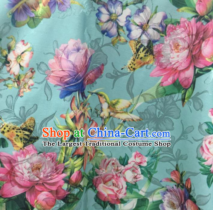 Chinese Traditional Apparel Fabric Green Qipao Brocade Classical Peony Pattern Design Silk Material Satin Drapery