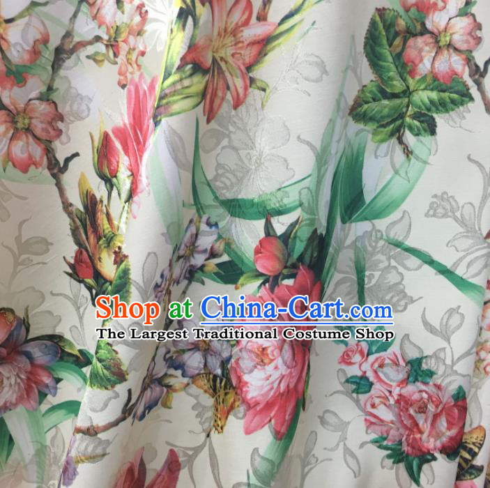 Chinese Traditional Apparel Fabric White Qipao Brocade Classical Peony Pattern Design Silk Material Satin Drapery