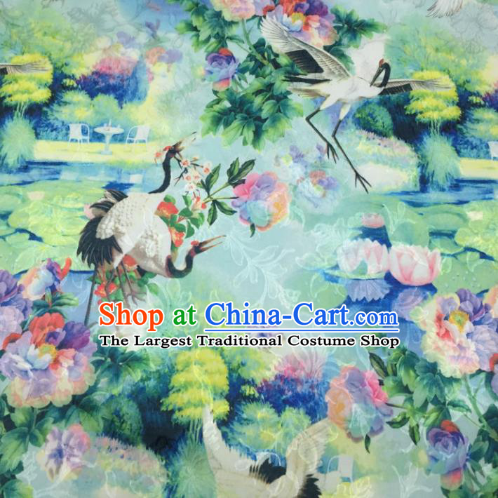 Chinese Traditional Apparel Fabric Green Printing Cranes Brocade Classical Pattern Design Silk Material Satin Drapery