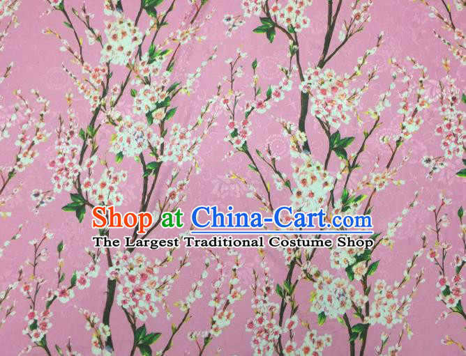 Chinese Traditional Apparel Fabric Printing Peach Blossom Pink Brocade Classical Pattern Design Silk Material Satin Drapery