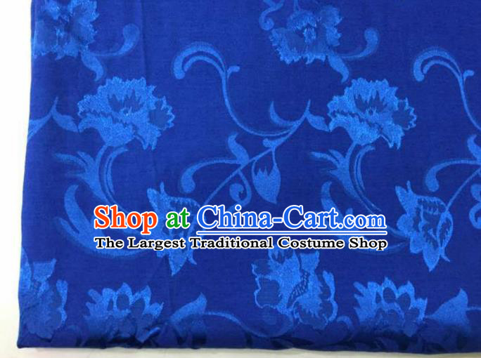 Chinese Traditional Apparel Fabric Blue Brocade Classical Pattern Design Silk Material Satin Drapery