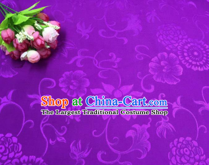 Chinese Traditional Apparel Fabric Purple Qipao Brocade Classical Pattern Design Silk Material Satin Drapery