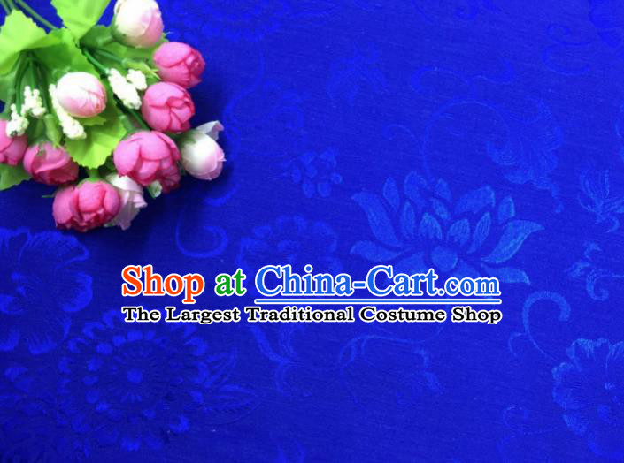 Chinese Traditional Apparel Fabric Blue Qipao Brocade Classical Pattern Design Silk Material Satin Drapery