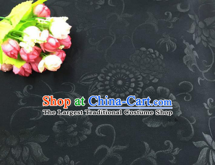 Chinese Traditional Apparel Fabric Black Qipao Brocade Classical Pattern Design Silk Material Satin Drapery