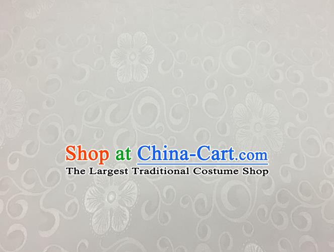 Chinese Traditional Apparel Fabric Qipao White Brocade Classical Flowers Pattern Design Silk Material Satin Drapery
