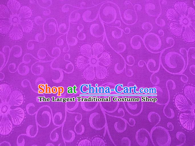 Chinese Traditional Apparel Fabric Qipao Purple Brocade Classical Flowers Pattern Design Silk Material Satin Drapery