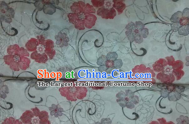 Chinese Traditional Apparel Fabric Qipao Brocade Classical Flowers Pattern Design Silk Material Satin Drapery