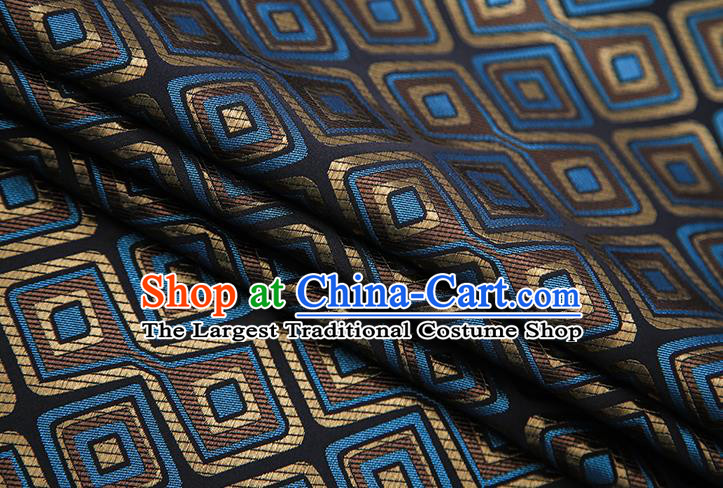 Chinese Traditional Apparel Qipao Fabric Black Brocade Classical Pattern Design Material Satin Drapery