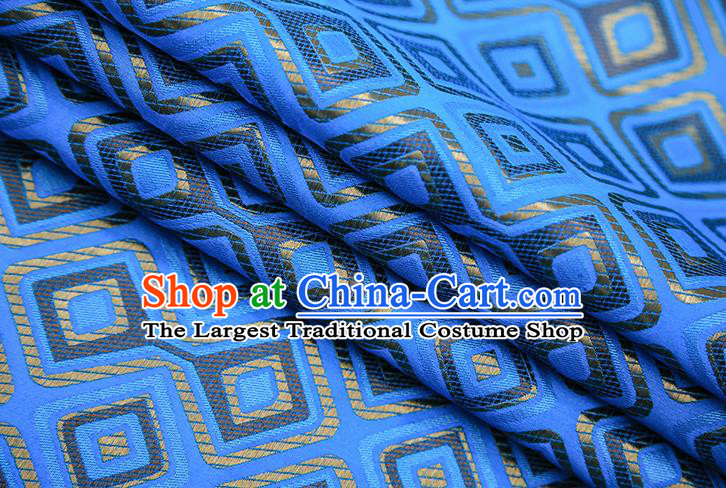 Chinese Traditional Apparel Qipao Fabric Blue Brocade Classical Pattern Design Material Satin Drapery