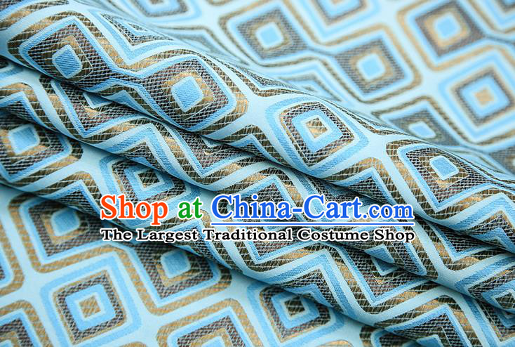 Chinese Traditional Apparel Qipao Fabric Light Blue Brocade Classical Pattern Design Material Satin Drapery