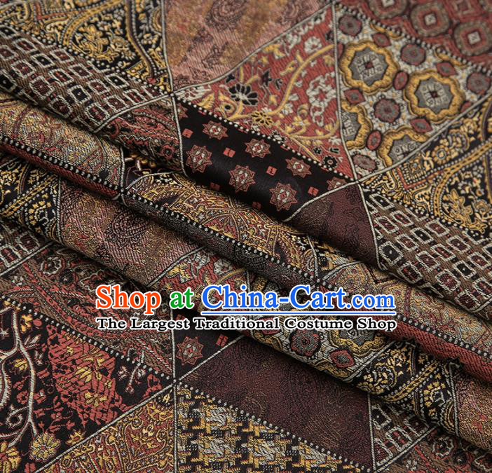 Chinese Traditional Apparel Fabric Tibetan Robe Brown Brocade Classical Pattern Design Material Satin Drapery
