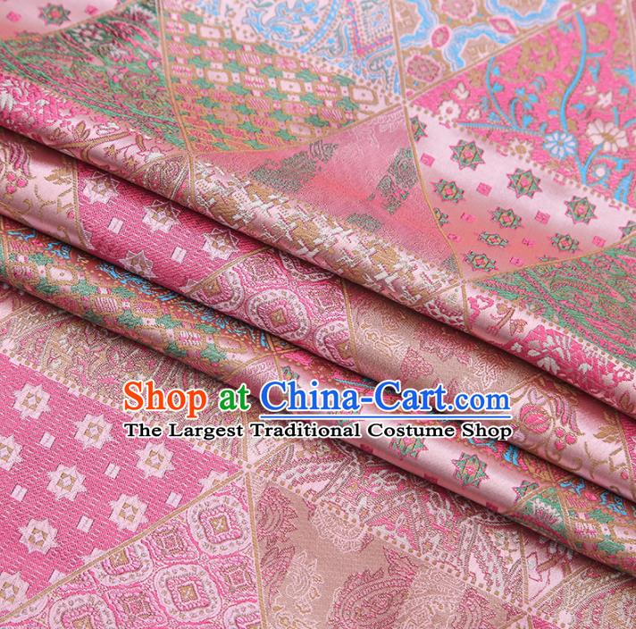 Chinese Traditional Apparel Fabric Tibetan Robe Pink Brocade Classical Pattern Design Material Satin Drapery