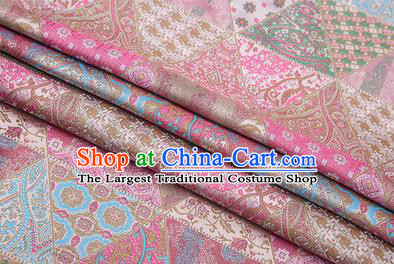 Chinese Traditional Apparel Fabric Tibetan Robe Light Pink Brocade Classical Pattern Design Material Satin Drapery