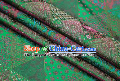 Chinese Traditional Apparel Fabric Tibetan Robe Green Brocade Classical Pattern Design Material Satin Drapery