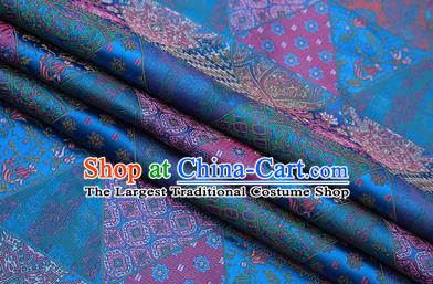 Chinese Traditional Apparel Fabric Tibetan Robe Blue Brocade Classical Pattern Design Material Satin Drapery