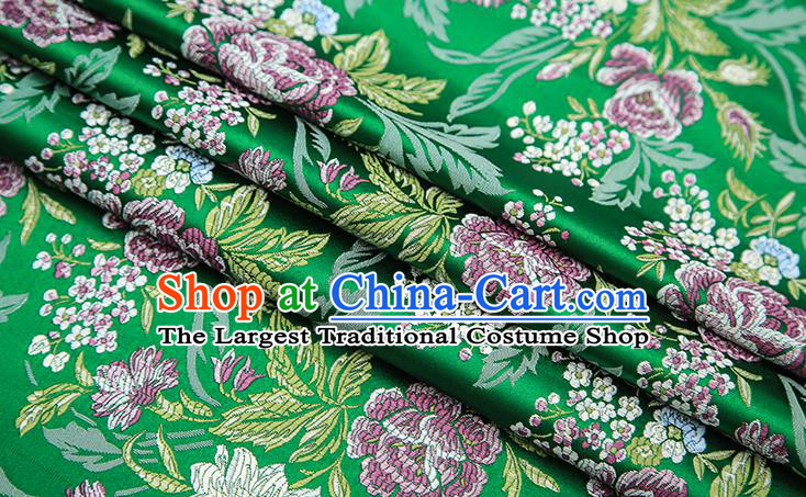 Chinese Traditional Bride Apparel Fabric Green Brocade Classical Peony Pattern Design Material Satin Drapery