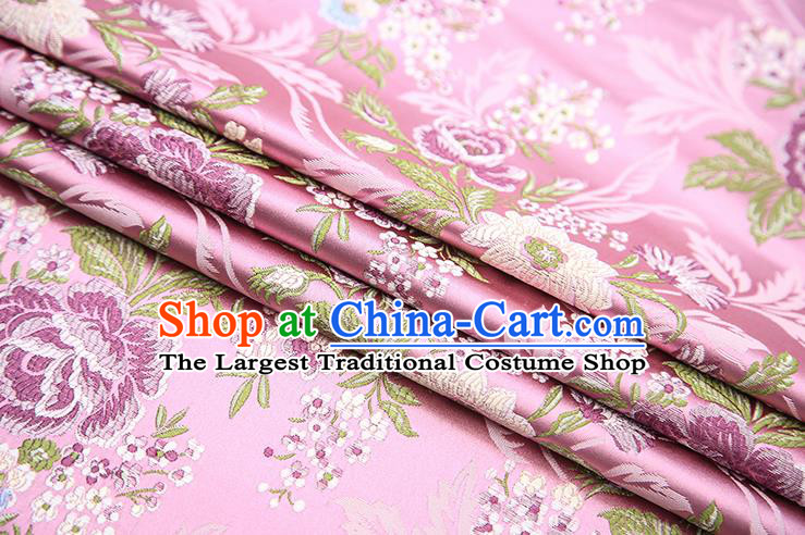 Chinese Traditional Bride Apparel Fabric Pink Brocade Classical Peony Pattern Design Material Satin Drapery