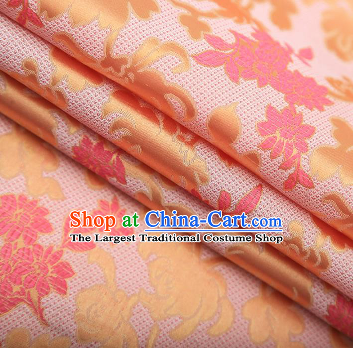 Chinese Traditional Apparel Pink Brocade Fabric Classical Peony Chrysanthemum Pattern Design Material Satin Drapery