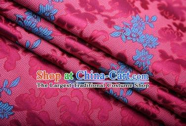 Chinese Traditional Apparel Rosy Brocade Fabric Classical Peony Chrysanthemum Pattern Design Material Satin Drapery